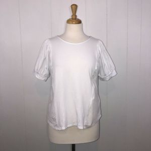 Eri Ali Anthropologie Top White Bubble Sleeve